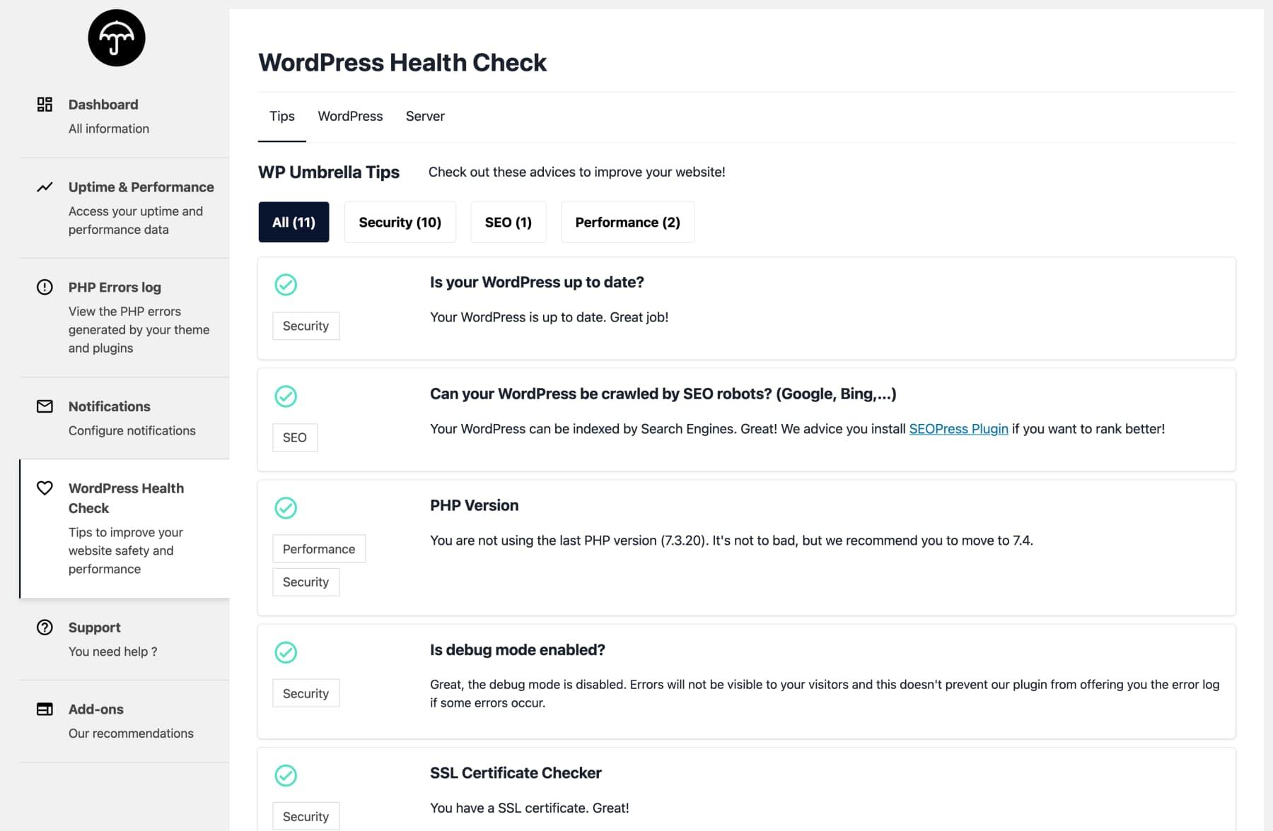 WordPress health check WP Umbrella